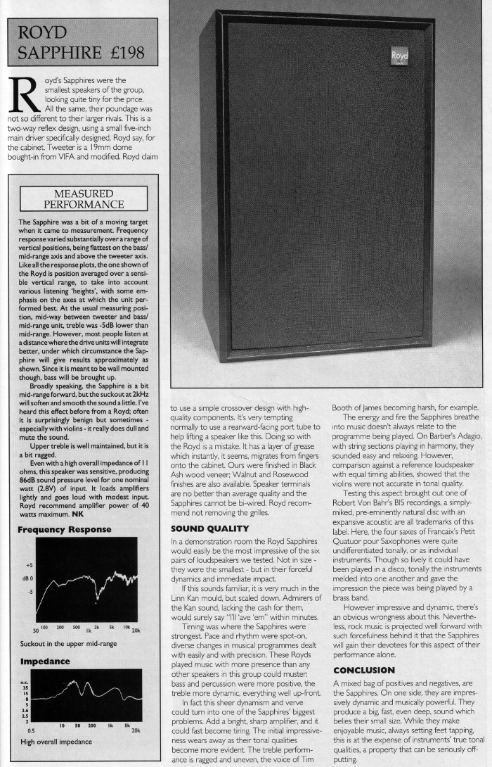 Sapphire Review Hi Fi World June 1992 Royd Audio